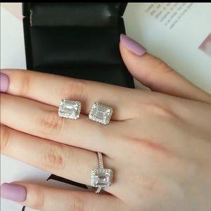 Princess style ring & earring set